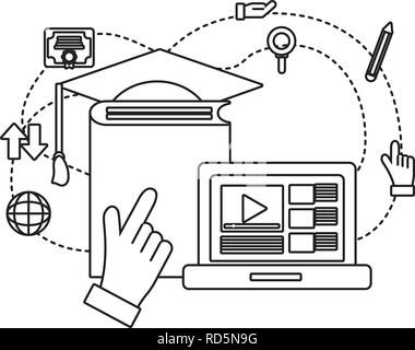 computer with book - Stock Photo