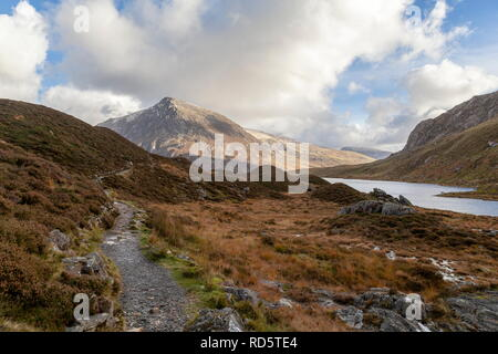 View of Pen Yr Ole Wen, taken from near Llyn Idwal, Snowdonia National Park - Stock Photo
