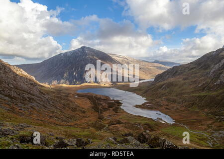 View of Pen Yr Ole Wen, taken from above Llyn Idwal, Snowdonia National Park - Stock Photo