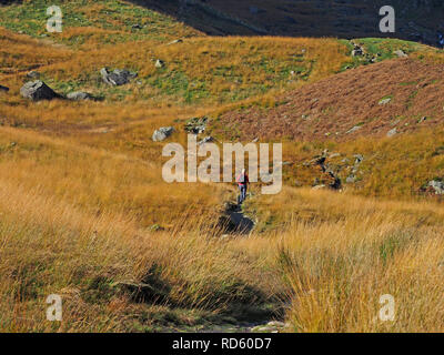 spectacular landscape with lone walker descending path from Kidsty Pike on way down from High Street in the Lakeland Fells in Cumbria, England, UK - Stock Photo