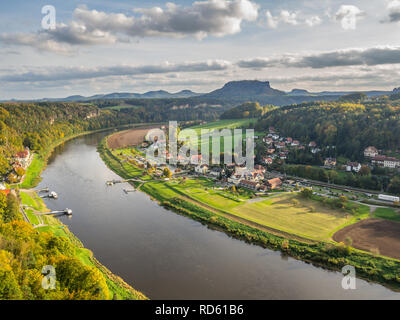 Elbe Valley with view of Rathen - Stock Photo