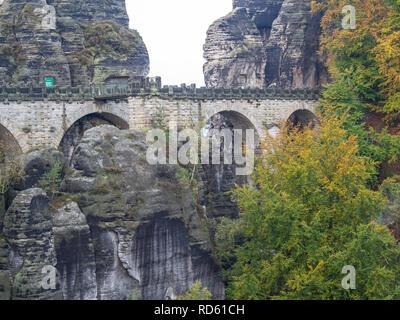 View of the Bastei Bridge - Stock Photo