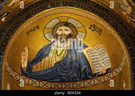 Christ, mosaic, Cappella Palatina, Palatine Chapel in the Palazzo Reale, Palazzo dei Normanni or Royal Palace of Palermo - Stock Photo