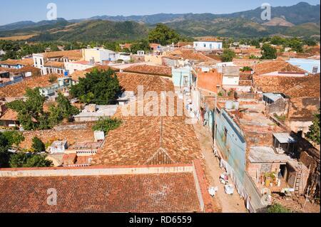 View from the bell tower of the Museo Nacional de la Lucha Contra Bandidos over Trinidad, Sancti Spiritus Province, Cuba - Stock Photo
