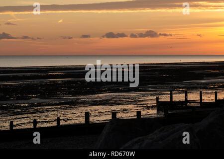 Worthing Beach at sunset - Stock Photo