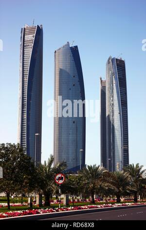 Etihad Towers, high-rise project, 4 towers located on the corniche, in 2011 the Jumeirah hotel group will open a luxury hotel - Stock Photo