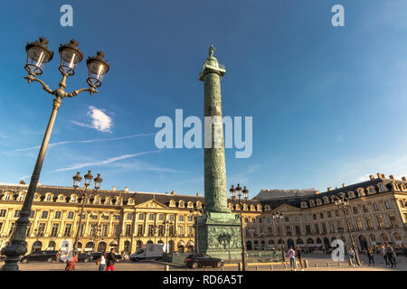 The Vendôme Column, at the centre of the Place Vendôme square was erected by Napoleon I to commemorate the Battle of Austerlitz ,Place Vendome , Paris - Stock Photo