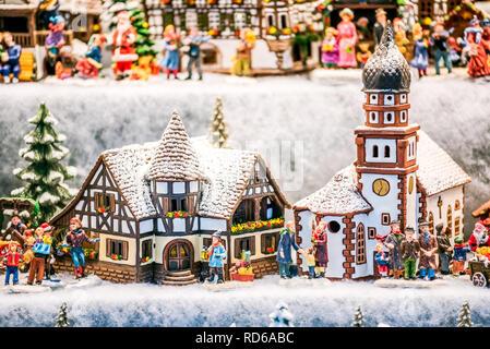 Salzburg, Salzburger Christkindlmarkt gingerbread houses Christmas Market decorations in Austria. - Stock Photo