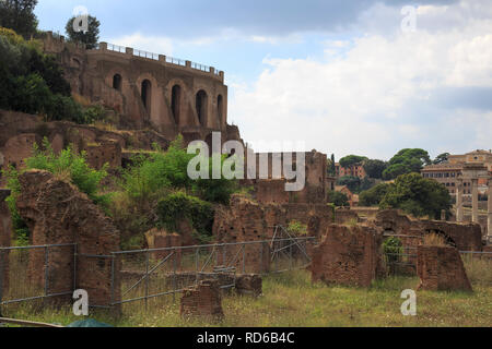 The Roman Forum (Latin: Forum Romanum), sometimes known by its original Latin name, is located between the Palatine hill and the Capitoline hill of th - Stock Photo