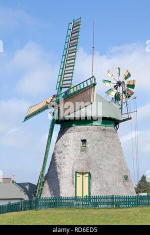 Erdhollaender windmill, a historic Dutch windmill, Nebel, Amrum Island, North Friesland, Schleswig-Holstein, PublicGround - Stock Photo