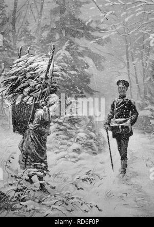 The Stephansbote, the mailman on Christmas Eve, historical illustration, ca. 1893 - Stock Photo