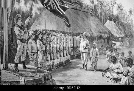 Seizure of the Silver Islands by the British, historical illustration, ca. 1893 - Stock Photo