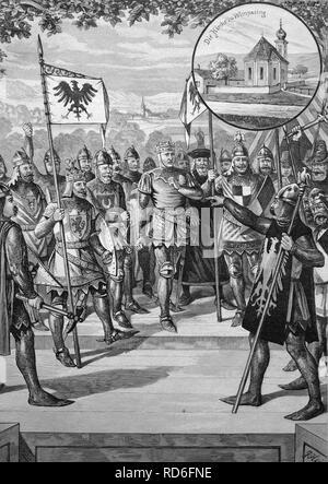 Scene from the folks theatre production of Ludwig of Bavaria in Kraiburg am Inn, Bavaria, Germany, historical illustration - Stock Photo