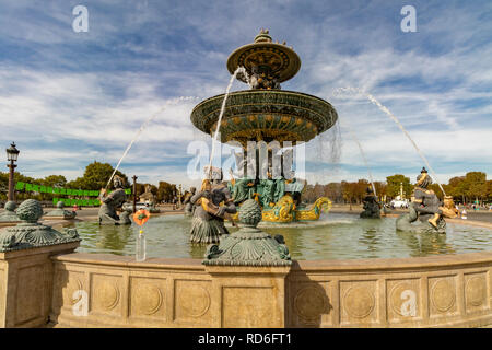 The Fountain of River Commerce and Navigation, one of the two Fontaines de la Concorde ,or Fountains at The Place de la Concorde - Stock Photo