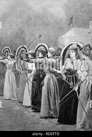 Women's competition in archery in Regent Park in London, England, historical illustration, ca. 1893 - Stock Photo