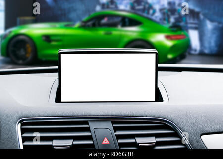 Monitor in car with isolated blank screen use for navigation maps and GPS. Isolated on white with clipping path. Car detailing. Modern car interior de - Stock Photo