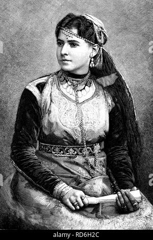 Portrait of an Algerian Jewess, historical illustration circa 1893 - Stock Photo