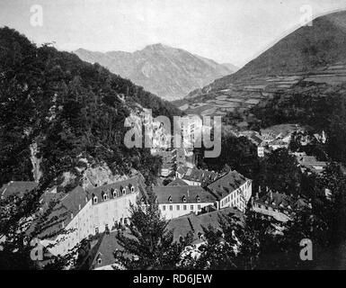 Early autotype of Muenster am Stein, Rhineland-Palatinate, Germany, historical photo, 1884 - Stock Photo