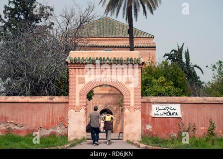 Les Jardin De La Menara or Menara Gardens, Marrakech, Morocco - Stock Photo