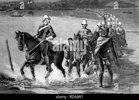 The restoration of Catewayo, the military escort crossing the Tugela River, South Africa, on their way to meet the King, historic image, 1883, Africa - Stock Photo