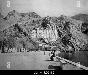 One of the first autotypes of Cattaro, Kotor, formerly Austria, now Montenegro, historical photograph, 1884 - Stock Photo