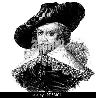 Fashion in the Middle Ages: collar and hat, about 1630, historical illustration - Stock Photo