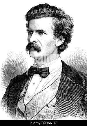 Mark Twain or Samuel Langhorne Clemens, 1835-1910, American writer, historical illustration, circa 1886 - Stock Photo