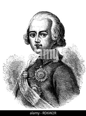Paul I, 1754 - 1801, Emperor of Russia, woodcut from 1880 - Stock Photo