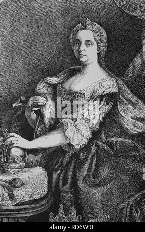 Maria Theresa of Austria, 1717 - 1780, sovereign of Austria and Queen of Hungary and Bohemia, woodcut from 1880 - Stock Photo