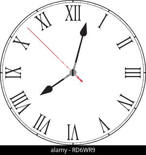 Vector illustration of blank clock face dial with Roman numerals, hour, minute and second hands isolated on white background - Stock Photo