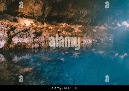 Jameos del Agua lava caves, located in Haría in northern Lanzarote, Canary Islands, Las palmas, Spain. - Stock Photo