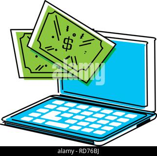 laptop computer with dollars vector illustration design - Stock Photo