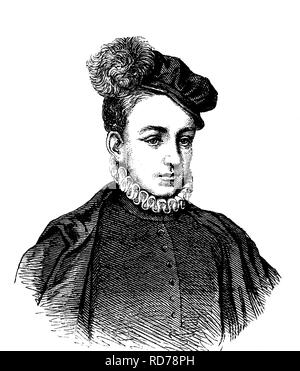 Charles IX of Valois, 1550 - 1574, King of France, historical woodcut, 1880 - Stock Photo