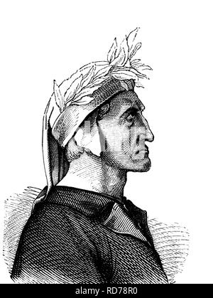 Dante Alighieri, 1265 - 1321, Italian poet and philosopher, historical woodcut, 1880 - Stock Photo