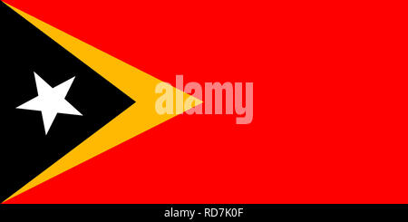 National flag of the Democratic Republic of Timor-Leste - East Timor. - Stock Photo