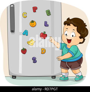 Illustration of a Kid Boy Toddler Showing His Toy Refrigerator Magnets with Fruits and Letters - Stock Photo