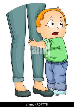 Illustration of a Kid Boy Toddler Clinging Unto His Mothers Legs Being Afraid to Let Go - Stock Photo