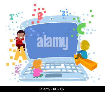 Illustration of Stickman Kids with Laptop, ABC, 123 and Pixels - Stock Photo