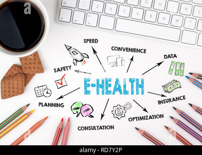E-health Concept. Chart with keywords and icon - Stock Photo