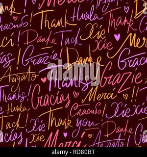 Pattern of Thank you in different languages - Stock Photo