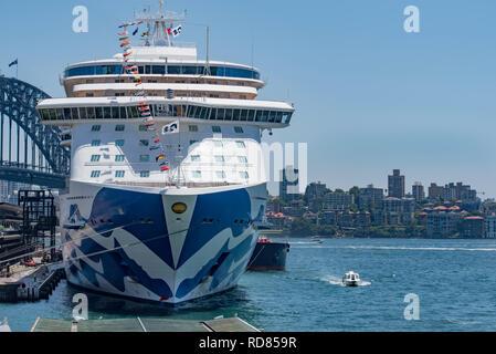 Sydney Australia, Jan 12, 2019: Princess Cruises' newest ship, Majestic Princess moored at the International Terminal, Circular Quay, Sydney Harbour. - Stock Photo