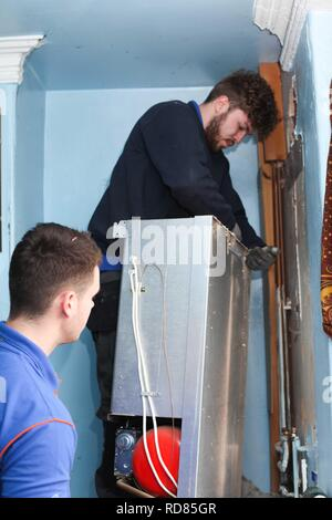 British Gas removing old inefficient boiler ,which creates