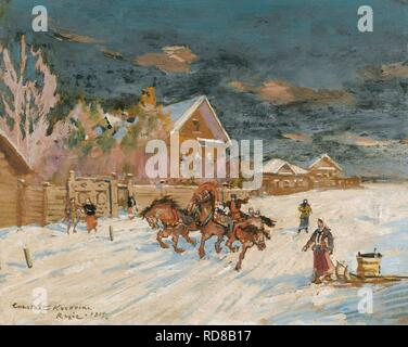 Russian village in winter. Museum: PRIVATE COLLECTION. Author: Korovin, Konstantin Alexeyevich. - Stock Photo