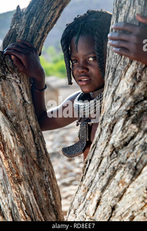 Portrait of a young Himba girl - Damaraland, Namibia, Africa - Stock Photo