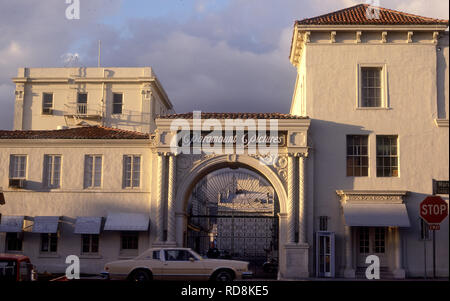 Front gate of Paramount Studios in Hollywood circa 1970s - Stock Photo