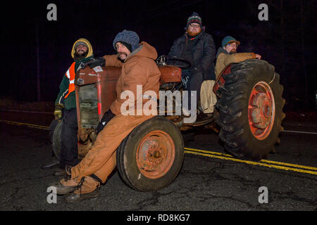 New Milford, United States. 15th Jan, 2019. Four New Yorkers were arrested early morning on January 16, 2019 for using a tractor to block a cargo shipment on Route 55 in New Milford, CT destined for the Cricket Valley Energy Center construction site, a massive 1100-megawatt gas-fired power plant under construction in Wingdale, New York. Credit: Erik McGregor/Pacific Press/Alamy Live News - Stock Photo