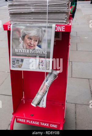 Theresa May,Evening standard newspaper headline, 'winters coming' Evening standard free newspaper dispensed on streets of London - Stock Photo