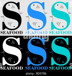 fish letter s for a seafood store or restaurant with negative space - Stock Photo