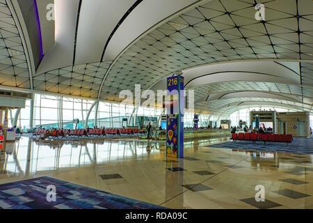 Inside terminal at Hong Kong Airport. China. - Stock Photo
