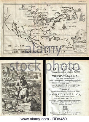 1688, Hennepin First Book and Map of North America, first printed map to name Louisiana. - Stock Photo